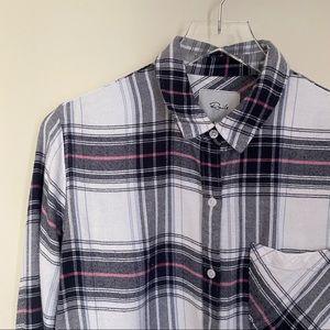 RAILS white black pink plaid flannel button up S